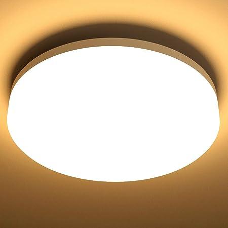 Lighting EVER Plafonnier LED 15W, Luminaire Plafonnier Étanche IP54 Blanc Chaud 3000K 1250LM, Angle de Faisceau 120 °, Plafonnier LED Idéal pour Salle de Bain, Balcon, Couloir, Cuisine, Salon(Φ22)
