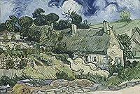 ゴッホの油絵アートプリントポスター Houses with Thatched Roofs, Cordeville - フィンセント ファン ゴッホ 世界の名画 高級ポスター 50cmx75cm アートプリントキャン バス 写真