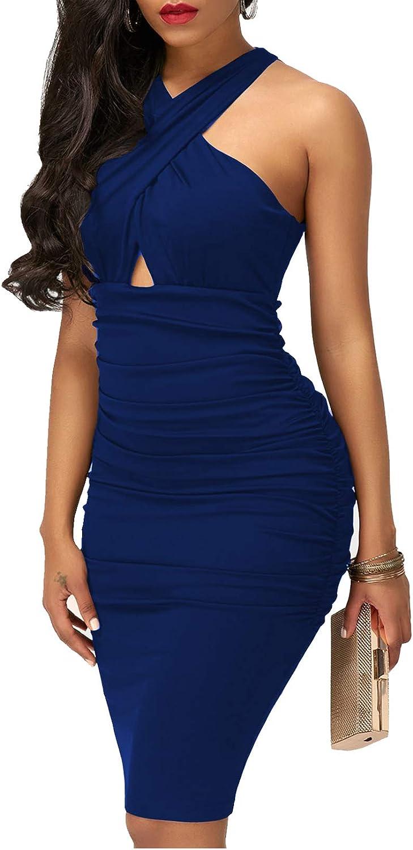 IyMoo Woman Sexy Bodycon Dress - Sexy Club Outfits for Women Elegant Crisscross V Neck Sleeveless Midi Club Dresses
