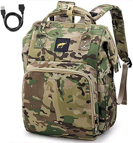 Diaper Bag for Men Dad Camo Nappy Bag Backpack Large Canvas Waterproof USB Mommy Bag for Baby product image