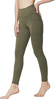 ONGASOFT Women High Waist Running Workout Leggings Yoga Tight Pants Side Pockets Tummy Control