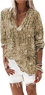 Loyomobak Women Loose Fit V-Neck Fashion Ruched Floral Print Long Sleeve T-shirt