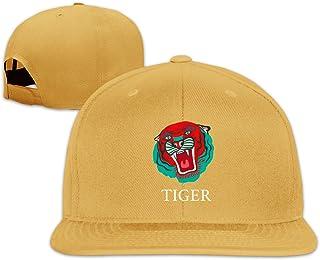 Unisex Fashion Oversized Batwing Tiger Face Printed Baseball Caps Buckle Design Adjustable Trucker Hat Black