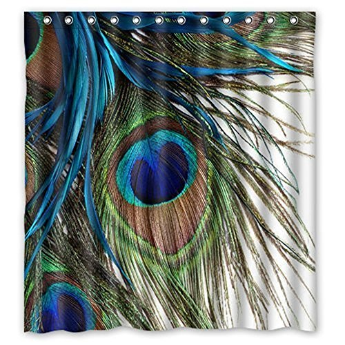 Colorful Peacock Feathers Waterproof Polyester Bath Shower Curtain