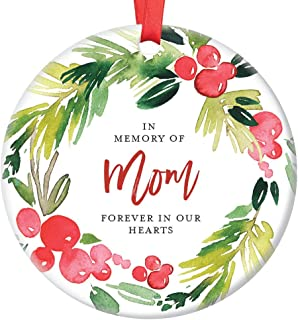 In Memory of Mom Christmas Ornament Memorial for Mother Forever In Our Hearts Son & Daughter Pretty Holly Wreath Ceramic Holiday Remembrance Keepsake Present 3