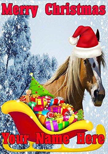 Paard Santa Sleigh nc229 Humorous Kerstmis kerstkaart A5 Gepersonaliseerde wenskaarten geplaatst door ons cadeaus voor alle 2016 van DERBYSHIRE UK