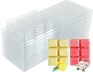 YIH 50 Packs Wax Melt Clamshells Molds Square, 6 Cavity Clear Plastic Cube Tray for Candle-Making & Soap