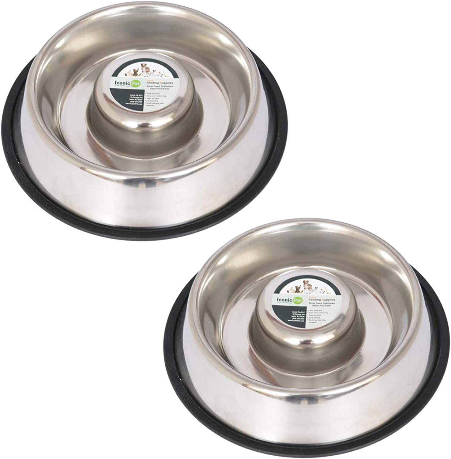 Iconic Pet 2 Pack Slow Feed Stainless Steel Pet Bowl for Dog or CatLarge48 Oz