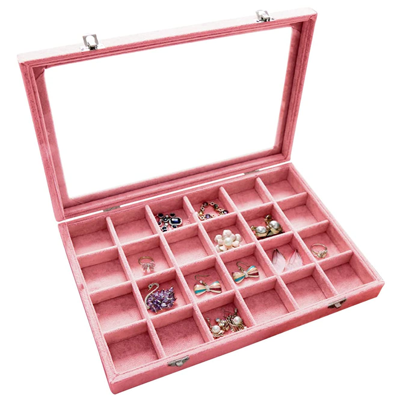 Wuligirl Clear Lid 24 Grid Jewelry Tray Box Showcase Display Storage Rings Earrings Bracelet Necklace Glass Top Lid & Lock(24 Grid)