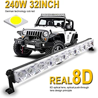 LED Light Bar 32inch 240W Single Row Driving Light CREE LEDs 8D Lamp Cup off Road Lights for Jeep, Cabin, Boat, SUV, Truck, Atv, Driving Lights,2 Years Warranty