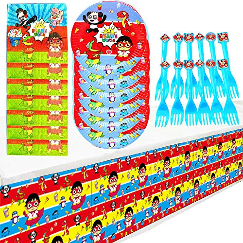 Ryans World Party Supplies Set, Ryans World Birthday Party Decoration Supplies Cake Paper Dessert Forks, Ryan