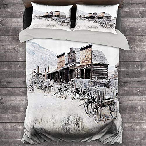 Miles Ralph Western Decor Large Duvet Cover Old Wooden Wagons from 20s in Ghost Town Antique Wyoming Wheels Art Print King Duvet Cover 104'x89' inch Brown White