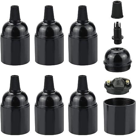UTRUGAN 6 PCS E27 Douille de Lampe en Bakélite Rétro E27 Porte-lampe 250V 4A E27 Douille Support Vintage Noir Edison Ignifuge Suspension Lampe pour LED Luminaire Éclairage DIY Décoration Café(5.5*4cm)