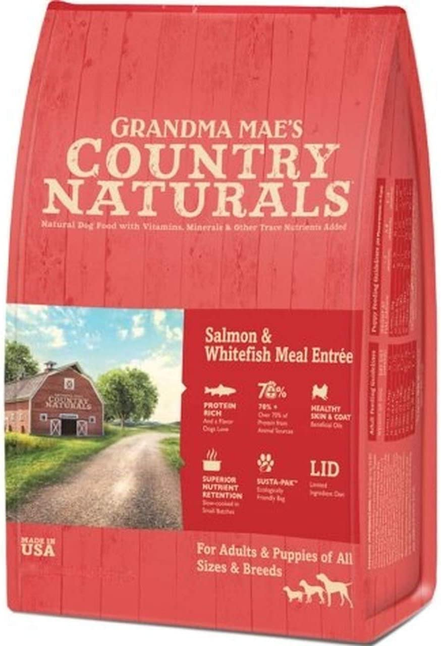Grandma Mae's Country Naturals Salmon and Whitefish Meal Dry Dog Food, 4 Pounds, Limited Ingredient