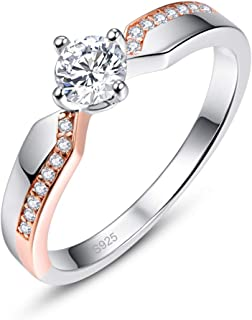 Momius 925 Silver Created White Topaz Round Cut Cross Twist Wedding Engagement Eternity Ring for Women
