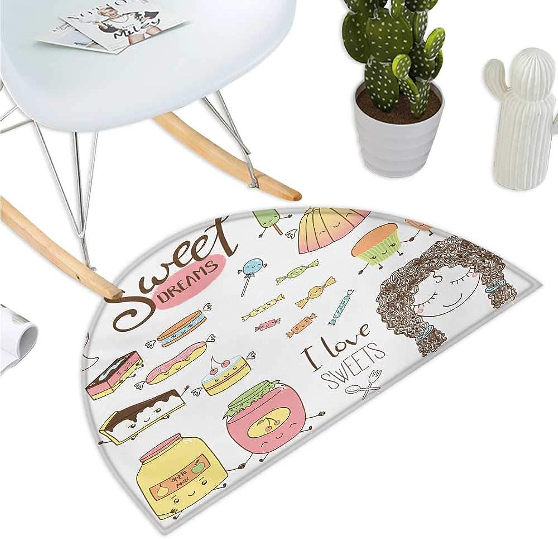 Sweet Dreams Semicircular Cushion Teen Girl Dreaming About Sweets Food Doodle Characters Kawaii Cartoon Faces Halfmoon doormats H 35.4  xD 53.1  Multicolor