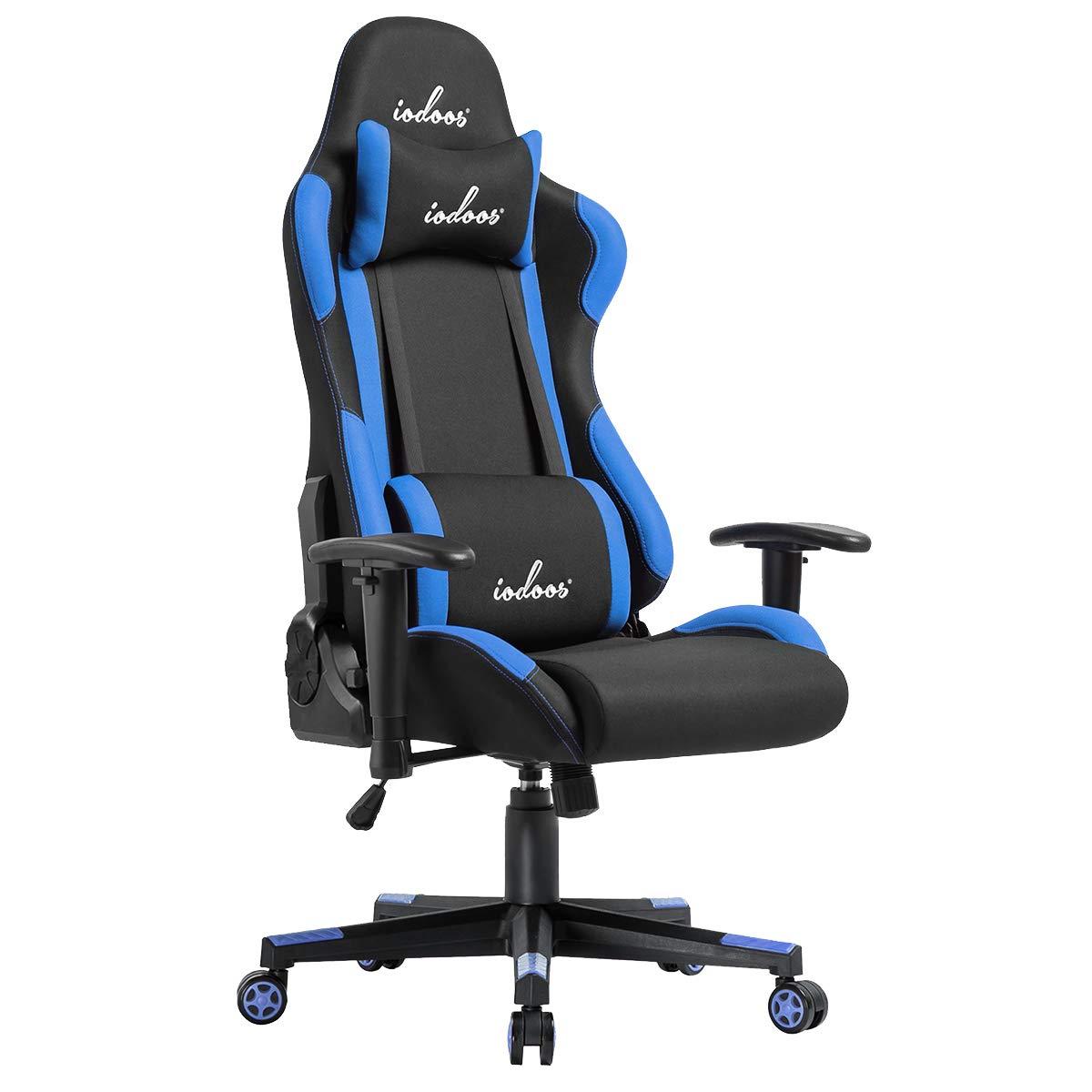 IODOOS ゲーミングチェア gaming chair オフィスチェア パソコンチェア 180度リクライニング ランバーサポート付き 耐荷重120kg 肘掛付き 通気性抜群 布地 (ブルー)01BAA