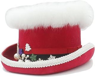 CHENJUAN Sombrero de lana de Navidad Steampunk sombrero de copa con rojo y  verde para las 4e4556e75d87