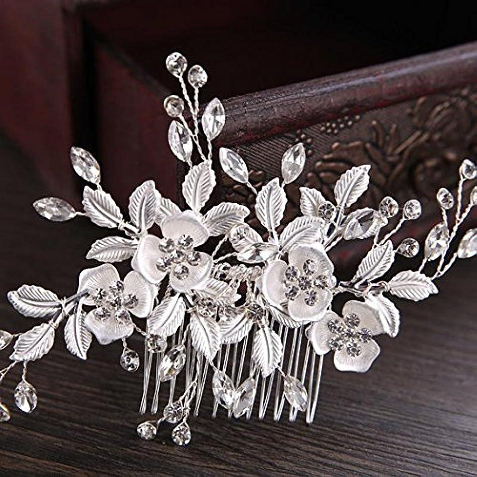 SWEETV Rhinestone Wedding Clip Silver - Bridal Comb Barrette Handmade Flower Clip Head Pieces for Women