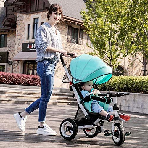 Triciclos Triciclos para niños 3 en 1 12 meses a 6 años Cinturón de seguridad de 3 puntos Ruedas traseras bloqueables Trike para niños Manija ajustable Bar Plegable Sol Canopy Trike para niños Peso má