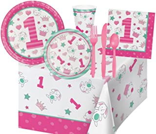 1st Birthday Party Supplies Bundle for Girls - Includes: Plates, Napkins, Cutlery, and Cups for 16 Guests Plus a Table Cover in Pink and Mint