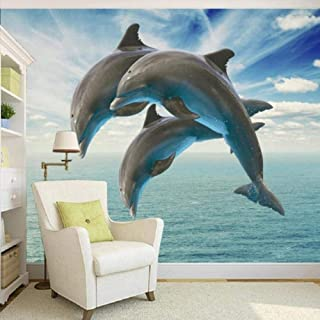 Afashiony Photo Wallpaper Hd 3D Stereo Naked Dolphin Jumping Tv Background Decorative Painting Custom Wallpaper Lobby Mural-400Cmx280Cm
