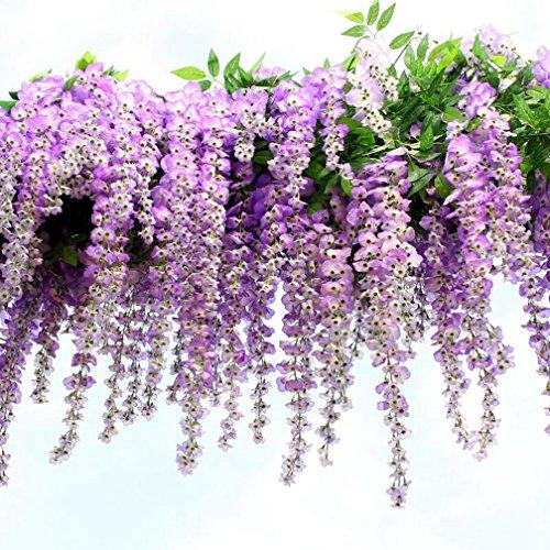 12 Pezzi Ghirlanda Pensile Glicine Circa 110CM Rampicante Fiori Seta Per Party Decorazione Domestica(Purple)