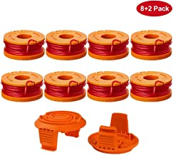 Yabey Edger Spool Compatible with Worx WG180 WG163 WG175 WA0010 Weed Eater String, Weed Wacker Spool Replacement Parts, Trimmer Line Refills 10ft 0.065 inch for Electric String Trimmers (8 Spools, 2 T