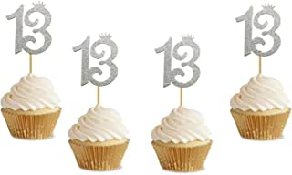"""Glitter Sliver 13th Birthday Party Anniversary Party Cupcake Toppers. 24 Pack Number 13"""" Cupcake Toppers"""