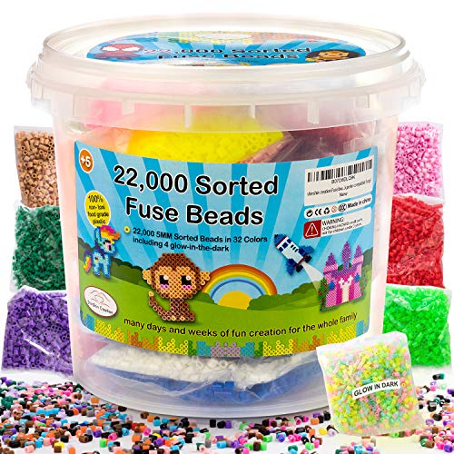 shinshin creation 22,000 Pre - Sorted Fuse Melty Beads Bucket Size 5mm 32 Colors Including Glow in The Dark Perler Compatible Best Christmas Gift for Boy or Girl
