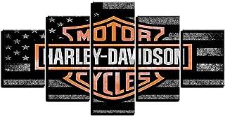 LIICC Cuadro decorativo impreso con 5 paneles de carreras de Harley Davidson 30 x 40 x 230 x 80 cm