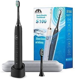 電動歯ブラシ 超音波歯ブラシ IPX7防水 携帯 音波式 振動歯ブラシ 2分タイマー 5点クリーニングモード 2本歯ブラシヘッド ブラック
