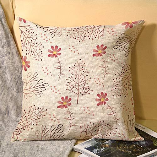 Fundas de almohada de lino decorativas para el hogar, 45,72 x 45,72 cm, fundas de almohada cuadradas de verano, patrón tropi-cal, mimbre rosa
