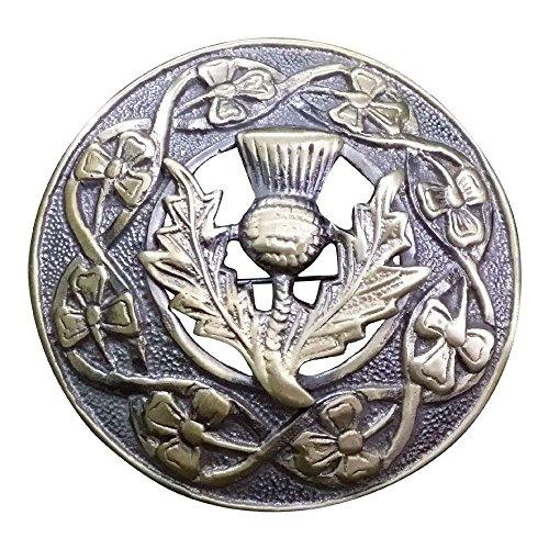Mens Kilt Fly Plaid Brooch Thistle Crest Antique Finish/Scottish Kilt Brooches