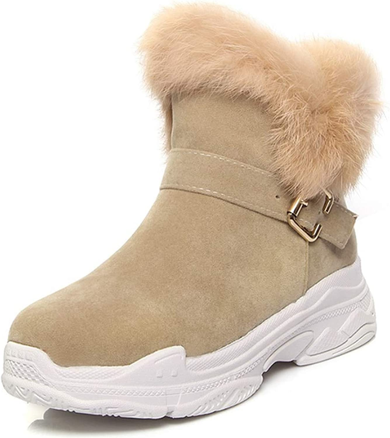 Fay Waters Women's Warm Ankle Boots Flock Mid Heel Wedges Round Toe Buckle Slip-on Winter Snow Booties