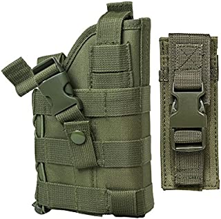 M1SURPLUS Tactical MOLLE Compatible Green Holster with Free Tactical Pistol Magazine Carrier Pouch/This Item Fits Smith & Wesson M&P M2.0 CZ-P10 FN FNS FNP FNX Taurus PT92 24/7 OSS PT92 Pistols