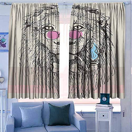 Rod Pocket Gordijnen voor kamer donkere panelen voor woonkamer slaapkamer dier sprookjesachtige thema een vos is het spelen van de fluit hert slang bier wolf en eekhoorn afdrukken Multi kleuren