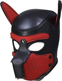Raycity Leder Vollmaske Hundewelpenhaube abnehmbare Mund Kostüm Party Cosplay Unisex (Black & Red)
