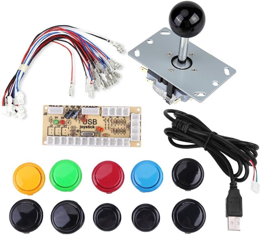 Kit de botones para juegos de arcade, cero retardo arcade juego de bricolaje piezas 10 botones + joystick + codificador USB para PC MAME