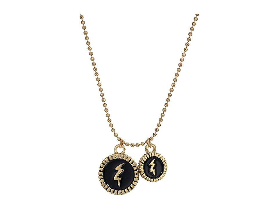 Steve Madden Thunder Pendants Ball Chain Necklace (Yellow Gold-Tone/Black) Necklace