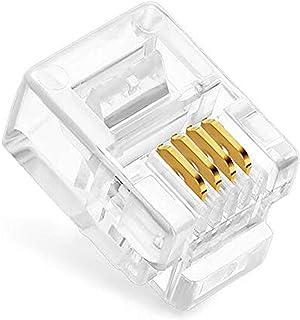 100 Pack RJ11 6P4C Plug, Uvital Telephone Handset Flat Cord Cable Modular Plug Connector Phone Jack Adapter Crimp End Crim...