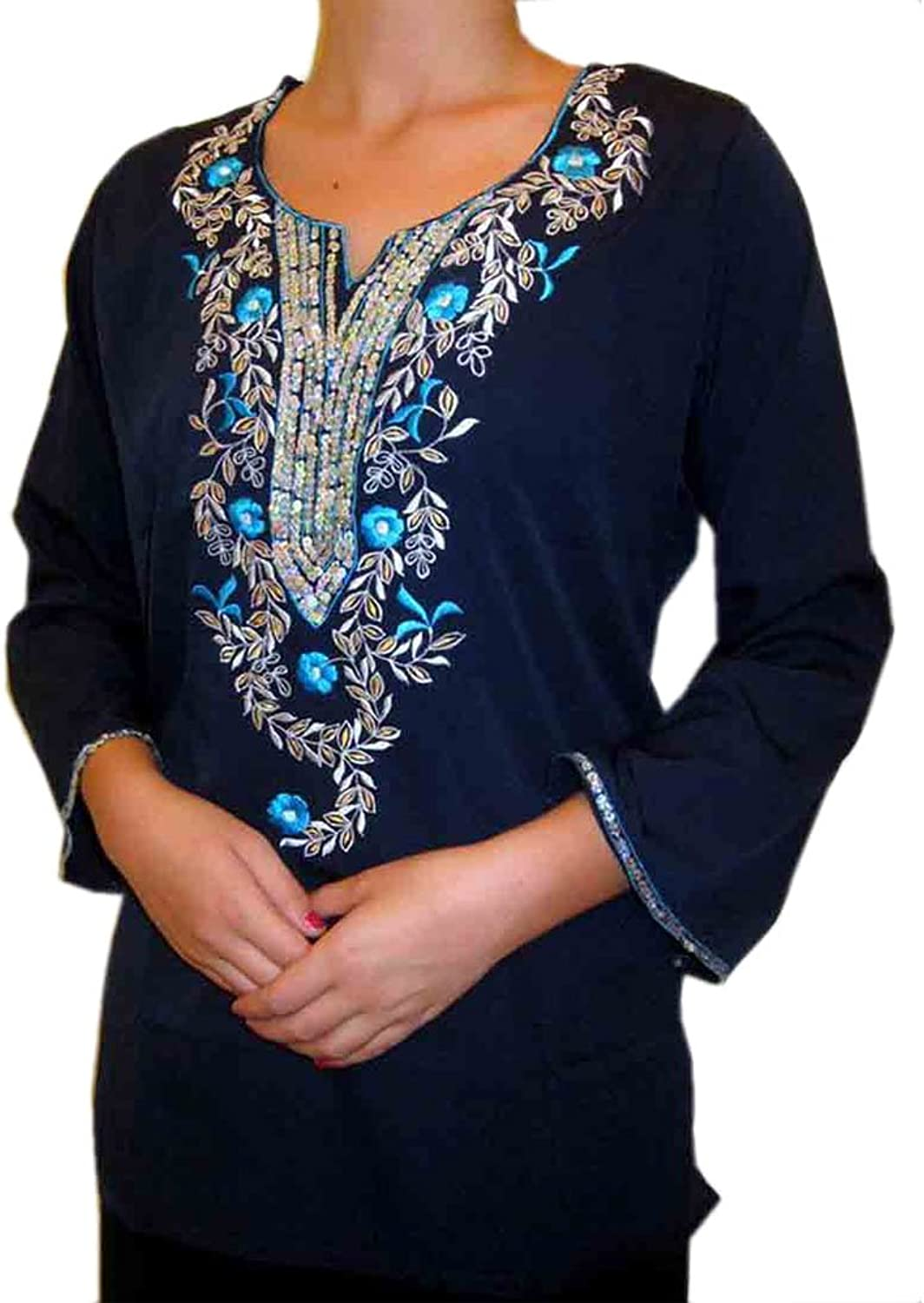 1545 Designs Women's Petite Size Scoop Neck Navy bluee Top