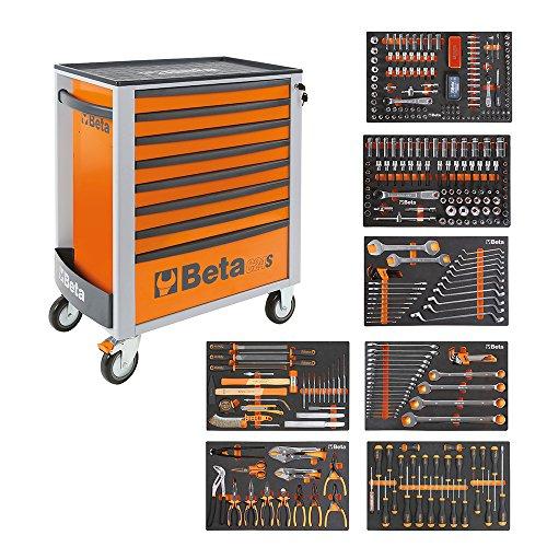 BETA Easy Werkzeugwagen mit 8 Schubladen mit 384 teiligem Werkzeugsortiment, 2400S-O8/E-XL, 024002293 (Orange)