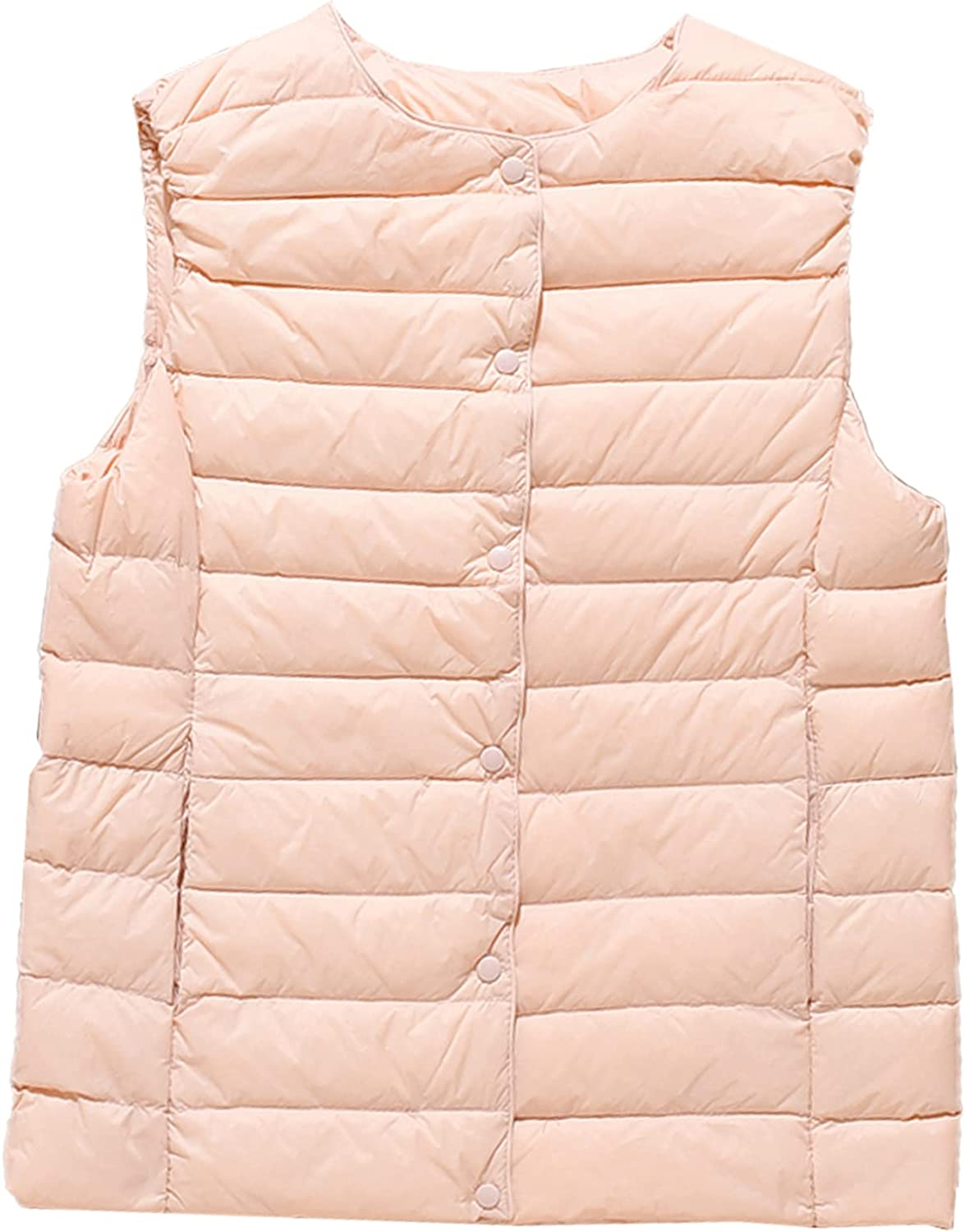 PEHMEA Women's Warm Quilted Down Vest Packable Round Collar Sleeveless Puffer Jacket