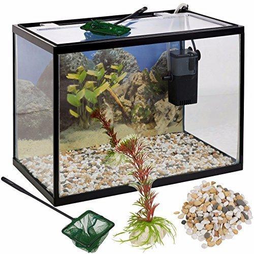 URBN Living 26 Liter Glas Aquarium Starter Set mit Filter Pumpe Netz Pflanze Steine