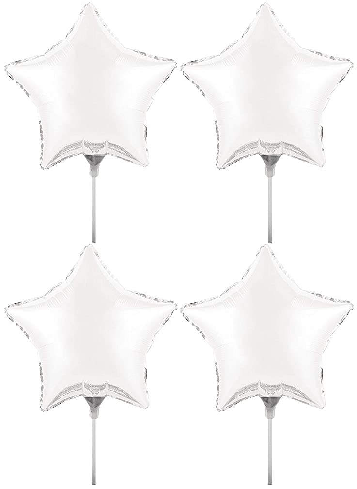 Set of 4 Foil Air Filled Balloons! Helium Free - Sticks and Joiner - Stars - Unique Themes - Party Balloons and Birthday Balloons Perfect for any Party Decoration! (4ct White 18