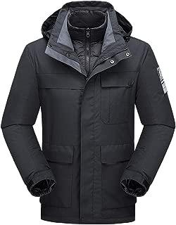 HIENAJ Mens Packable Classic Rain Jacket Solid Zip Up Water Resistant Trench Coat