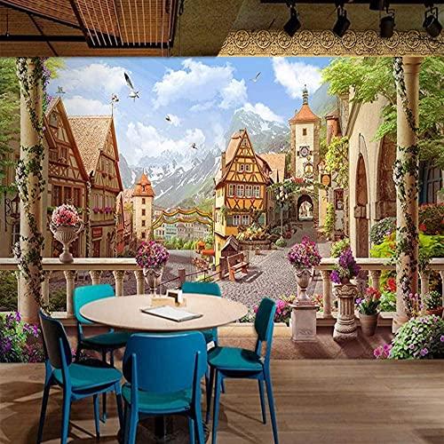 Papel tapiz mural 3D, edificio retro de la ciudad de los cuentos de hadas, adecuado para restaurante, cafeterí Pared Pintado Papel tapiz 3D Decoración dormitorio Fotomural sala sofá mural-300cm×210cm