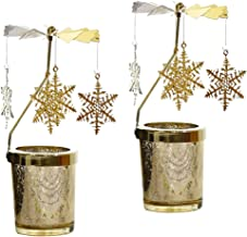 Flameer 2X Christmas Rotating Candle Holder Stand Tealight Candlestick Pedant Snowflake