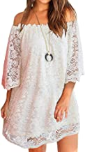 OURS Women's Casual Off Shoulder Lace Shift Loose Mini Dress with 3/4 Sleeve